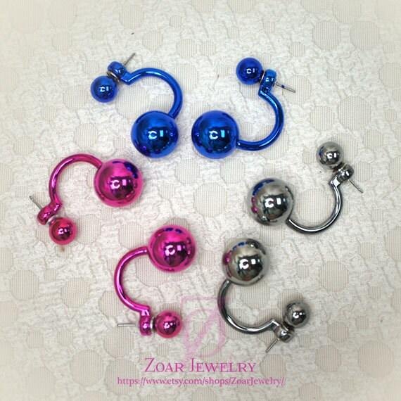 Tribal Earrings Metallic Glazed Double Balls Front Double