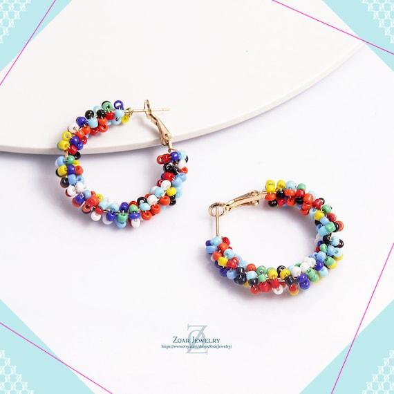 Multicolor beaded hoop earrings, Beads Hoop Earrings, Hoop Earring, Drop Earrings, Dangle and drop, Everyday