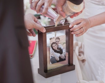 Rustic Wooden Unity Wedding Sand Ceremony Photo Frame - Unity Picture Frame Brown, White, Balck, Natural + Personalization