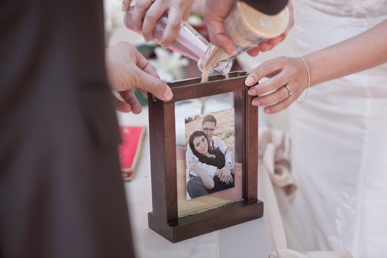 Black Unity Ceremony Picture Frame Personalized Wooden Vintage Rustic Heart Symbol Unity Wedding Sand Ceremony Photo Frame White