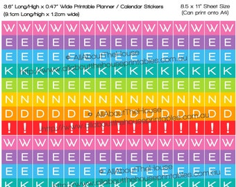 made for Erin Condren Horizontal Planner size Weekend planner stickers printable Calendar Stickers Rainbow flag banner bunting Plum Paper