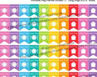 "Menu Plan Printable Planner Stickers Flag Banner Meal Prep Organization 1"" H x 0.75"" wide Erin Condren, Plum Paper or other planner F009"