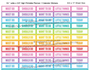 """List Stickers planner printable 1.5""""w x 0.5h"""" to do clean errands contact to buy label made for Erin Condren  ECLP Plum Paper kikki k ol180"""