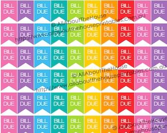 "Bill Due Printable Planner Stickers Flag Banner Calendar money finance 1"" H x 0.75"" wide Erin Condren, Plum Paper or other planner -F028"