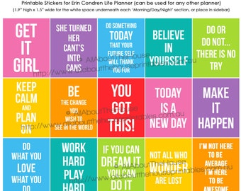 Motivational Quote Planner Stickers Printable Inspiration Full Box or Sidebar made for Erin Condren Plum Paper etc. FB056