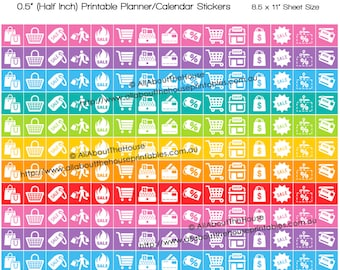 Shopping planner stickers grocery sale discount black friday couponing Printable Rainbow Daily  made for Erin Condren any planner HIS075