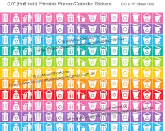 """Rubbish Trash Can Reclining Bin Day Planner Stickers Printable Calendar Stickers 1/2"""" Square Rainbow bin day environment chores clean HIS048"""