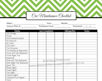 editable car maintenance checklist auto log vehicle etsy