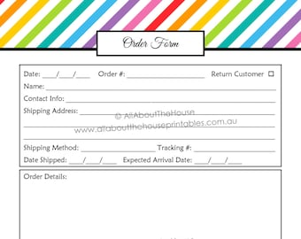 order form custom order form printable business planner etsy