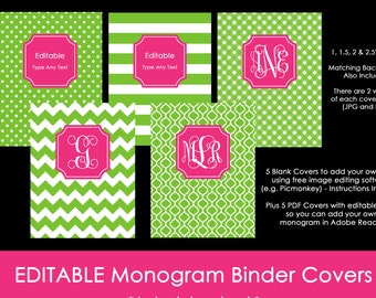 Editable Printable Monogram Binder Cover and spine chevron polka dot stripe gingham DIY Notebook Stationery Preppy school Green 40, pink 81