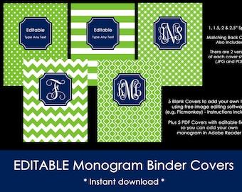 Editable Printable Monogram Binder Cover and spine chevron polka dot stripe gingham DIY Notebook Stationery Preppy school college navy green
