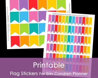 Printable Calendar / Planner Stickers Flags for Erin Condren, Plum Paper (or any other planner) Rainbow Grey Full Box Small Instant Download