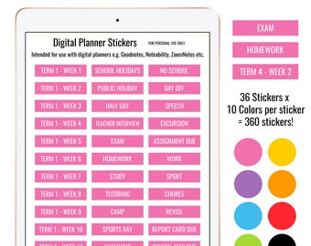 Digital Planner Stickers rainbow text label phrases functional 360 Individual PNG plus JPG PDF and Goodnotes file for use with lasso tool