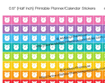 Reminder Alarm clock meeting due date Printable Calendar / Planner Stickers 1/2 inch Square Rainbow Daily Planner Organization Instant DL