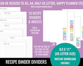pdf recipe template etsy