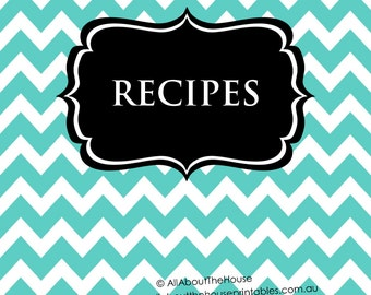 EDITABLE Recipe Binder Printable Aqua Black Sheet Card Recipes To Try Template Cover Spine Favorite Letter Size