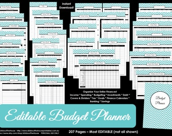 Budget Planner LIGHT BLUE EDITABLE Printable Household Binder