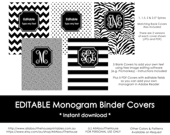 editable printable monogram binder cover and spine chevron etsy