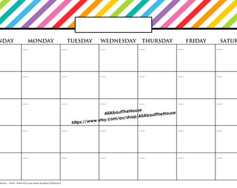 11 x 17 in message board printable calendar perpetual family rainbow editable 2015 any year meal planner calendar dry erase organization