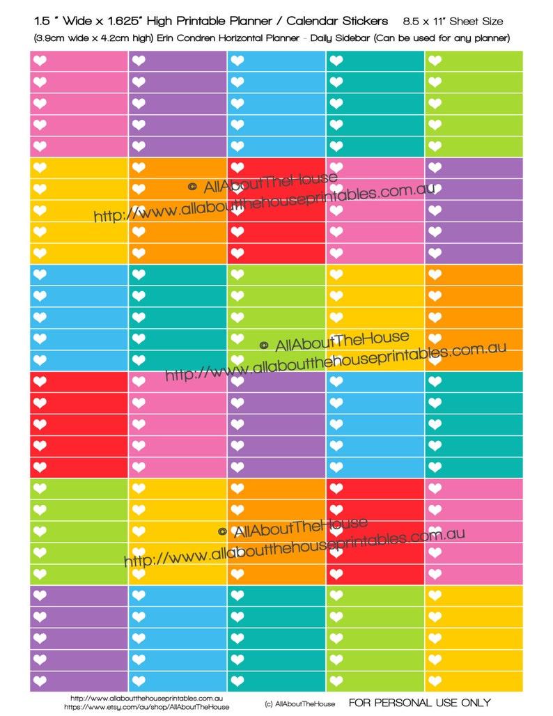 Heart List  made for Erin Condren Horizontal Planner Stickers image 0