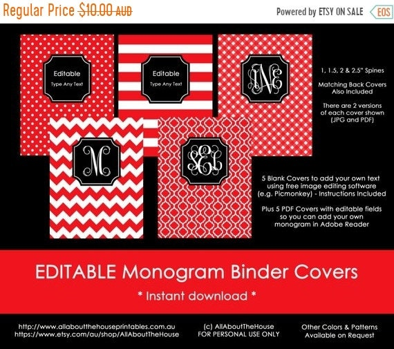 ON SALE Editable Printable Monogram Binder Cover And Spine Etsy