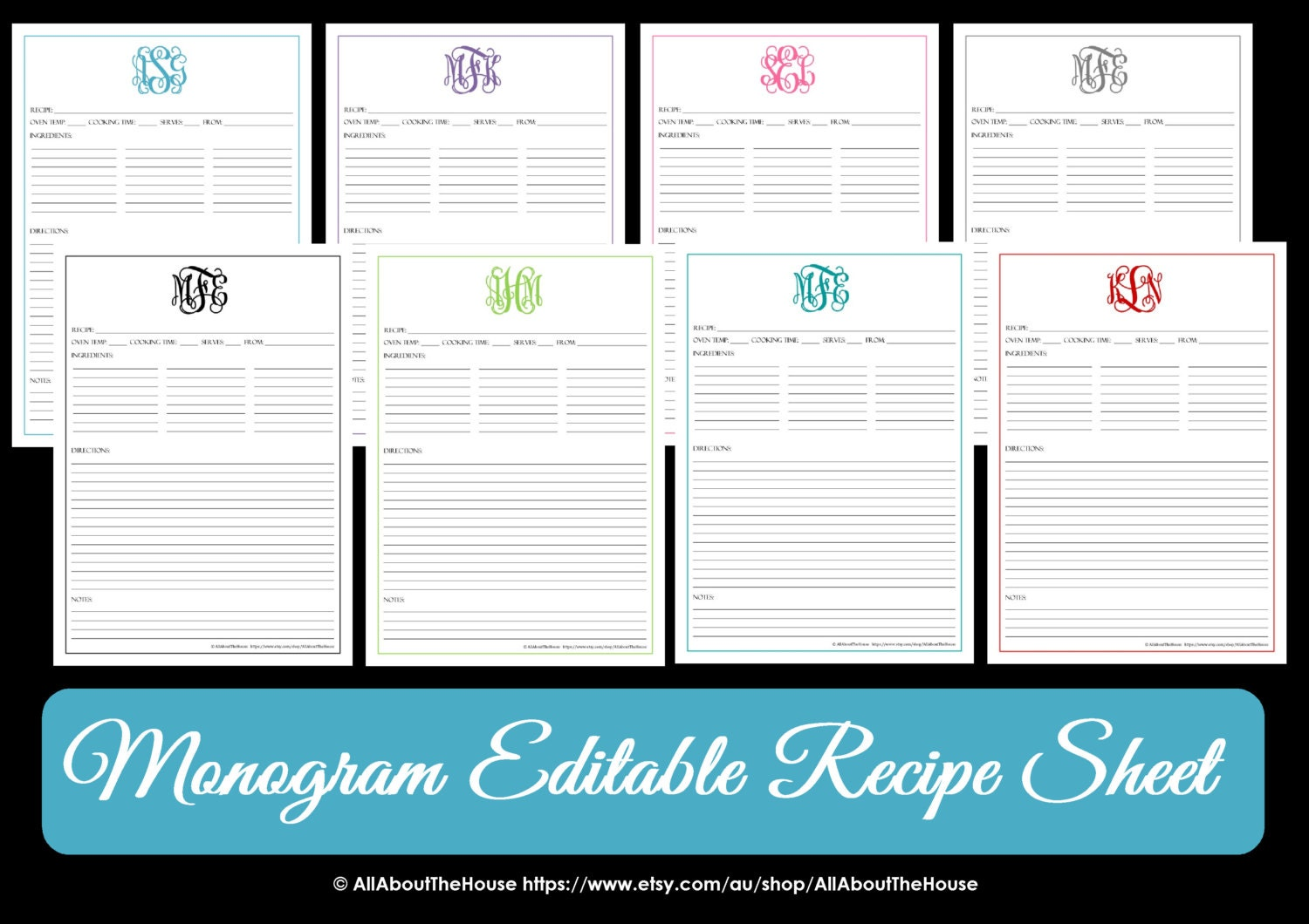 Monogram Recipe Sheet Editable Recipe Card Preppy Template Wedding Elegant Monogram Recipe Book Pdf Fillable Template Personalised Binder