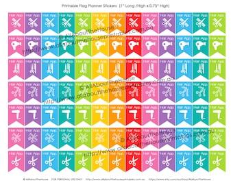 "Haircut Printable Planner Stickers Flag Banner Calendar Agenda Organization 1"" H x 0.75"" W Erin Condren, Plum Paper or other planner F011"