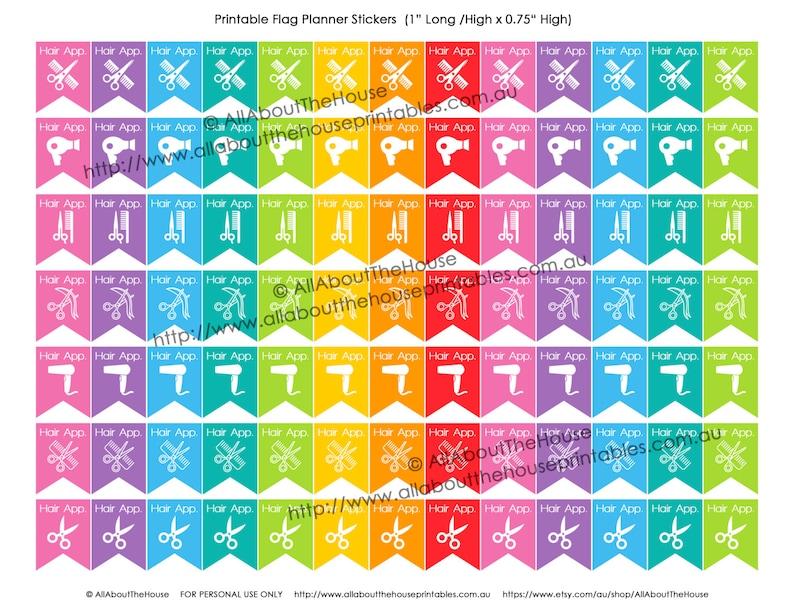Haircut Printable Planner Stickers Flag Banner Calendar Agenda image 0