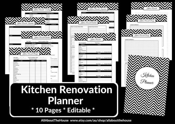 kitchen remodel checklist planner printable renovation home
