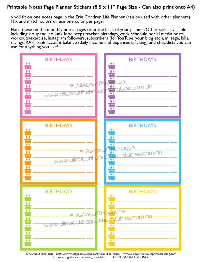 Birthdays planner stickers notes page Printable important image 0