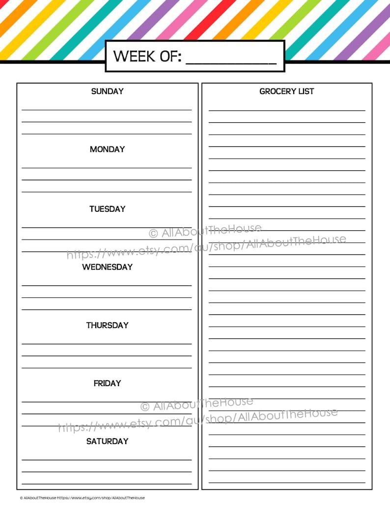 Weekly Meal Planner Printable Rainbow Stripe Menu Planner PDF image 0