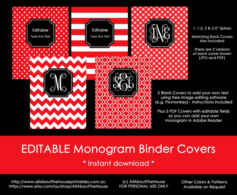graphic relating to Free Printable Monogram Binder Covers identified as Editable Printable Monogram Binder Include and backbone chevron polka dot stripe gingham Do-it-yourself Laptop Stationery Preppy college Purple 104, Black