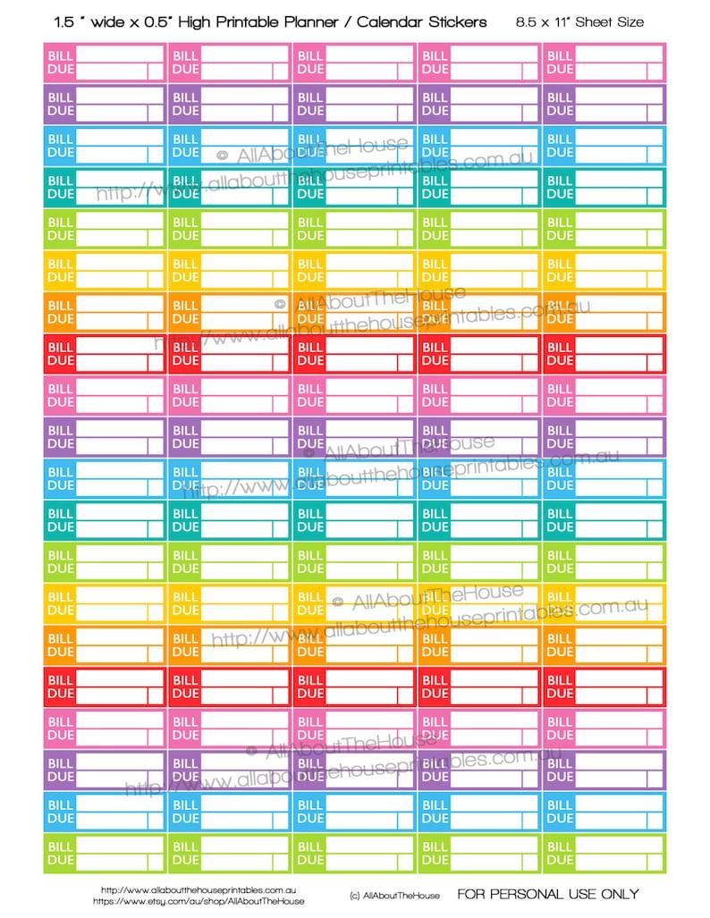 image regarding Planner Stickers Printable named Invoice Owing Planner Stickers printable, Reminder, Dollars, Bank loan, Credit card debt, Fee, greenback, pound, 1.5\