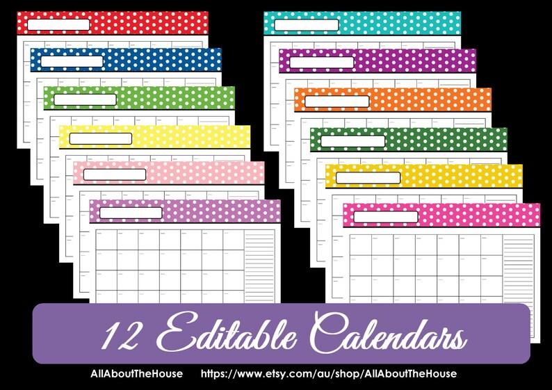 EDITABLE 12 polka dot calendars  You Choose  2015 2016 and image 0