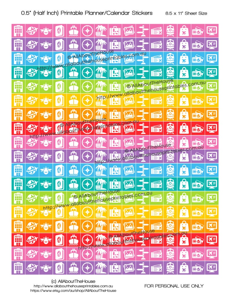 Travel Planner Stickers Printable Rainbow icon vacation image 0