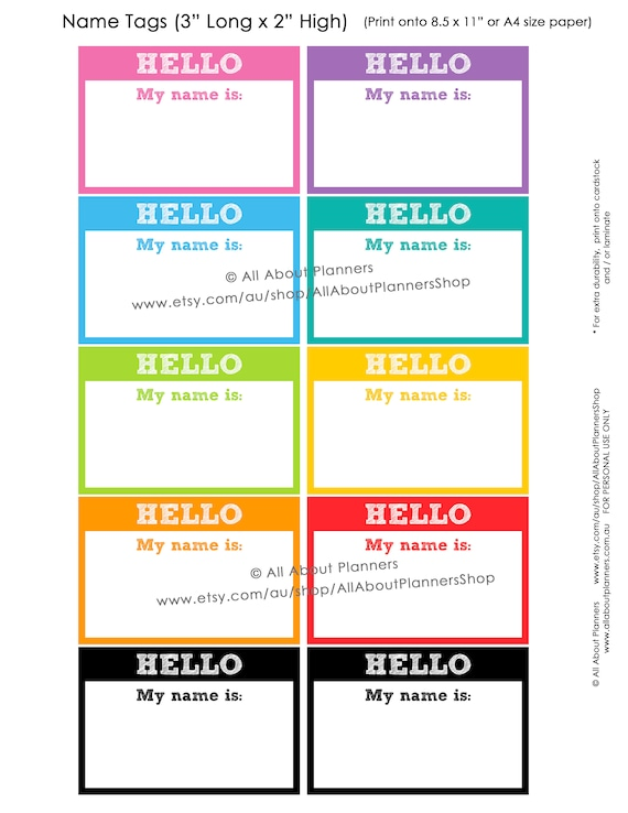 Hello My Name Is Labels Classroom Resource Printables