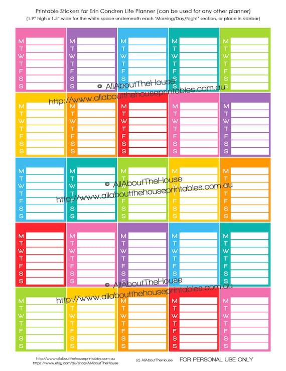 Weekly Sidebar Planner Sticker Agenda Happy Planner Erin Condren Calendar