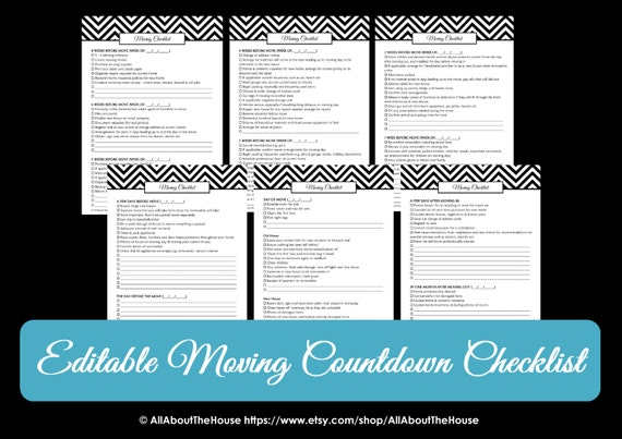 editable moving checklist planner binder printable chevron