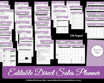 Direct Sales Planner - PURPLE - Editable Business Planner Binder Printables Organize Any Direct Sales Business 150 pages INSTANT DOWNLOAD