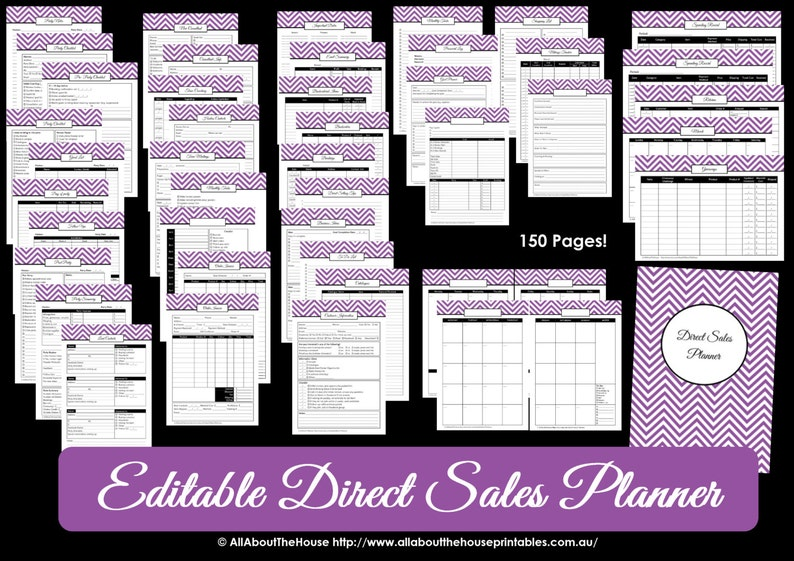 Direct Sales Planner  PURPLE  Editable Business Planner image 0