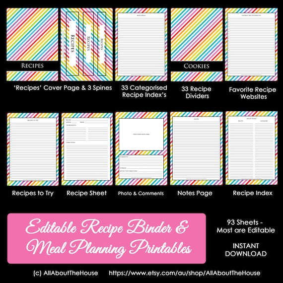 EDITABLE Recipe Binder Printables