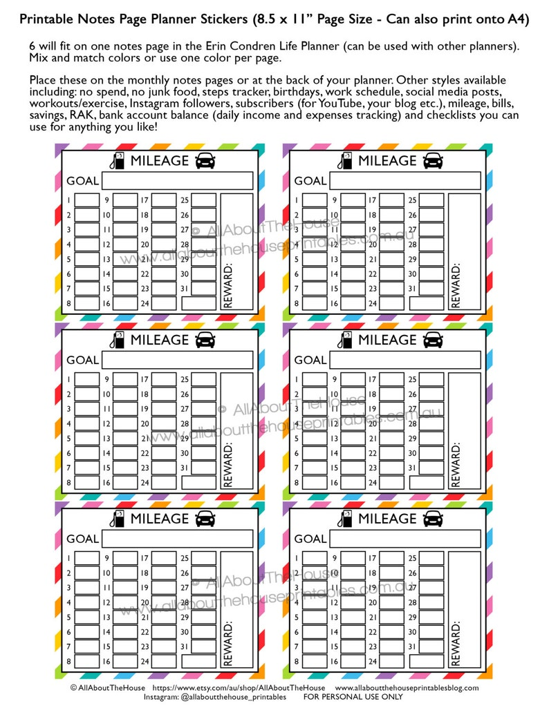 Mileage planner stickers notes page Printable business direct image 0