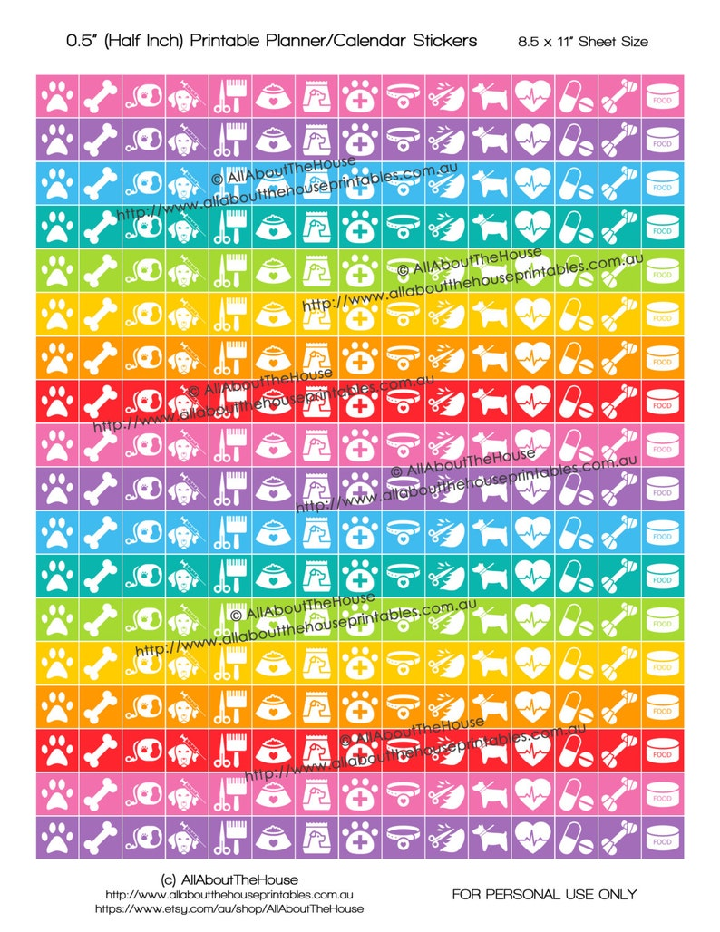 Pet Planner Stickers Printable 1/2 inch Square Rainbow 2016 image 0