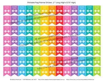 """Gym Workout Printable Planner Stickers Flag Banner 1"""" H x 0.75"""" W made for Erin Condren, Plum Paper or other planner F020-21"""