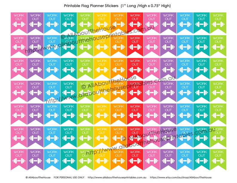 Gym Workout Printable Planner Stickers Flag Banner 1 H x image 0