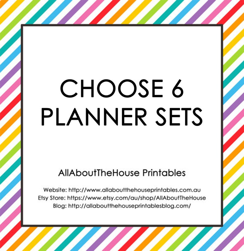 Choose 6 Planner Printable Sets  Create Your Own Planner image 0