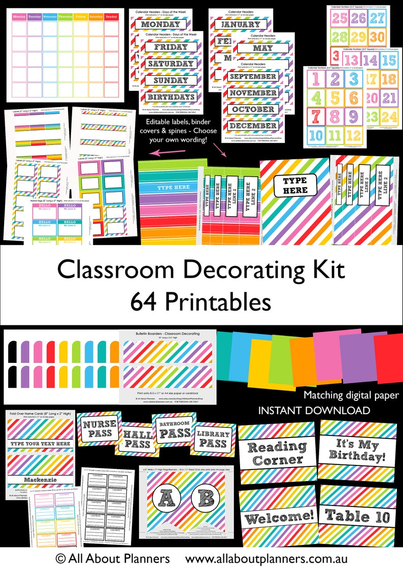 Classroom Decorating Kit Printables Organization Rainbow Back Etsy