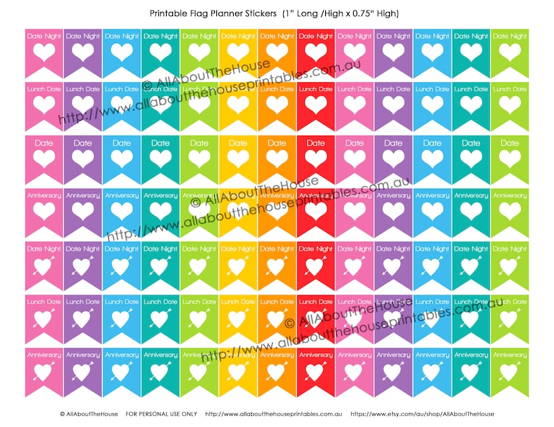 Date Night Planner Stickers Printable Heart Flag Banner image 0