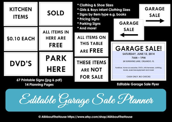 yard sale signs printable