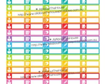 "Study read write Planner Stickers printable Reminder school homework bible 1.5"" wide x 0.5"" Rainbow 2015 Planner  OL124"